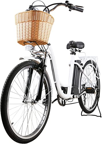 NAKTO City Adult Electric Bicycles 1 Year Warranty 250W Power Assisted Bicycle for Couples Models with Removable 36V 11A Large Capacity Lithium Battery and Charger Ebike