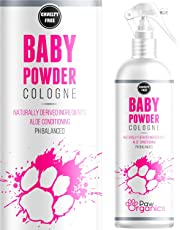 Paw Organics Baby Powder Cologne Perfume For Dogs - Talcum Fresh Smell & Aloe Vera Coat Conditioner- Naturally Derived - Lasts Up to 3 Days - 250ML - Made In The UK