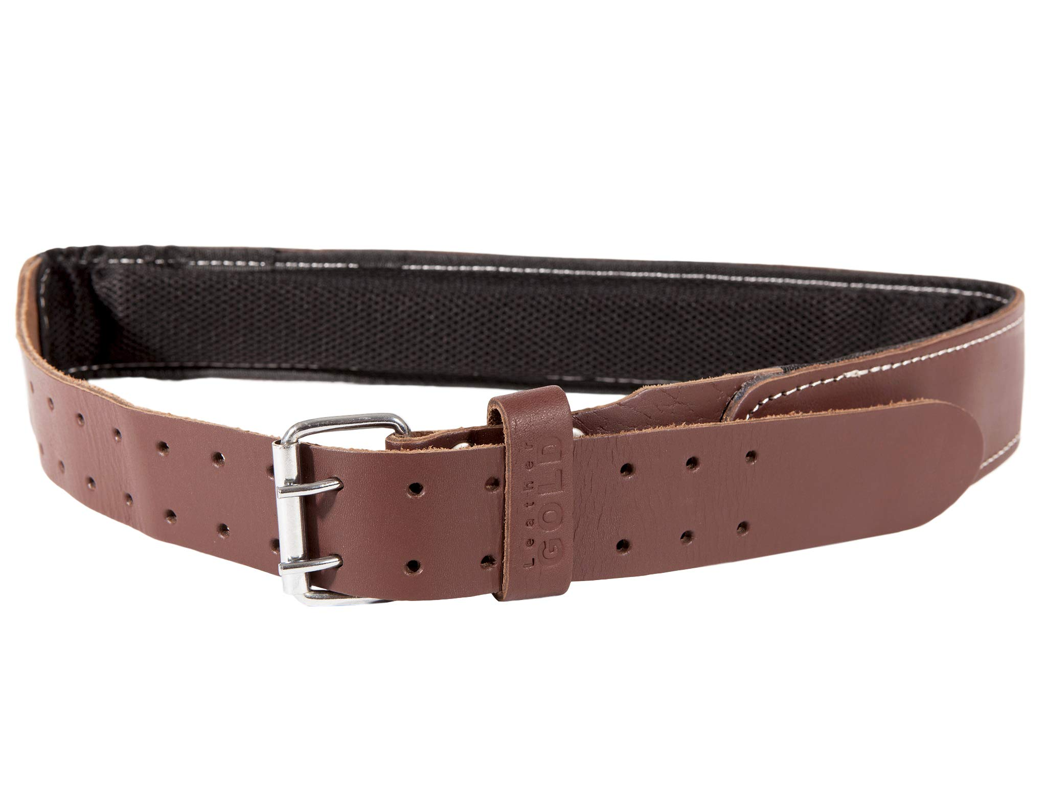 Leather Gold Padded Tool Belt 2.5 Inch Wide | Genuine Grain Leather Belt with Double Prong Buckle and Two Hole Rows | Comfortable Mesh and Foam Padding | Built Tough For Pouches and Construction Tools