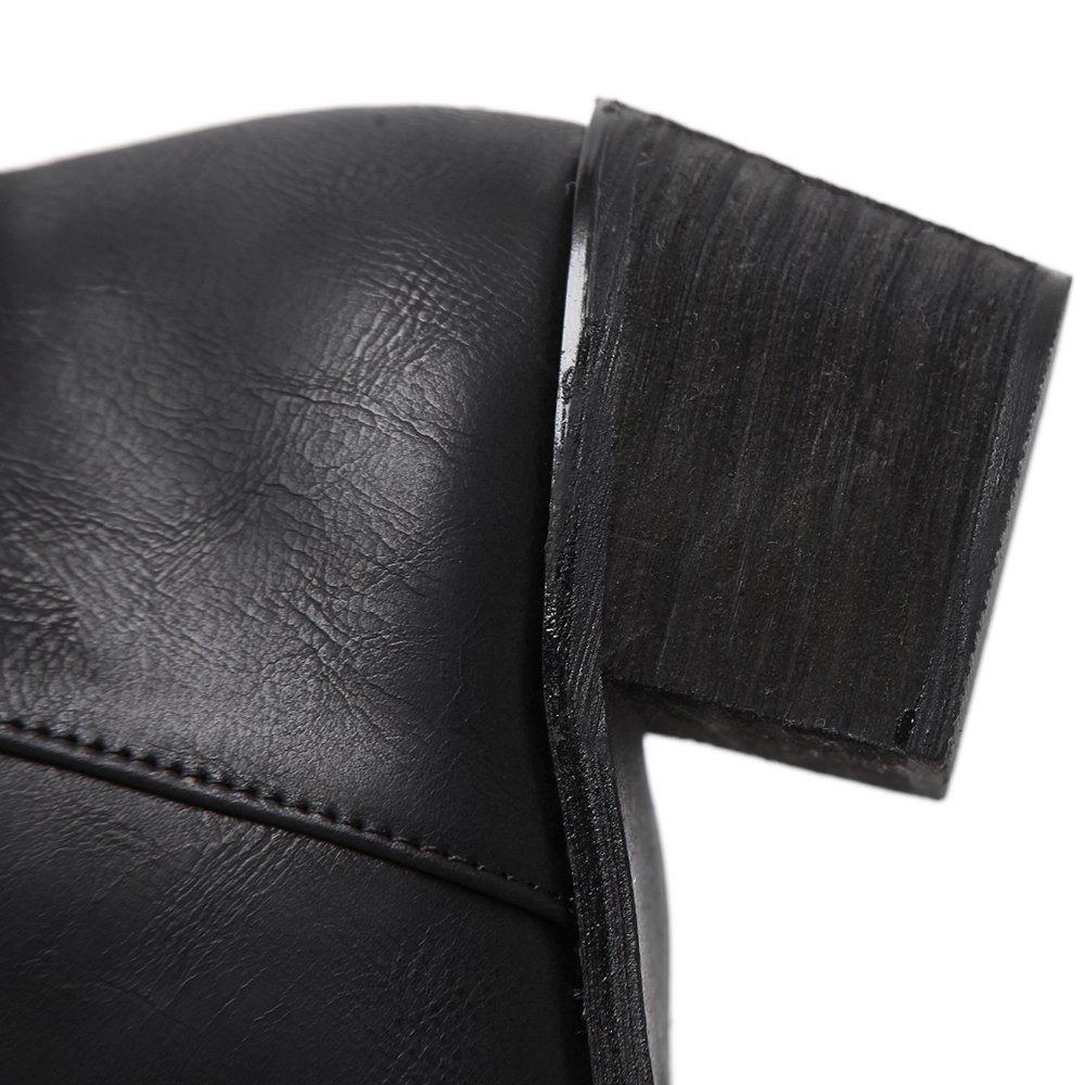 PU Lederne Schuhe der Damen schnüren sich oben Mitte Ferse-seitlichen Schwarz Reißverschluss Braun Schwarz Ferse-seitlichen f031ec