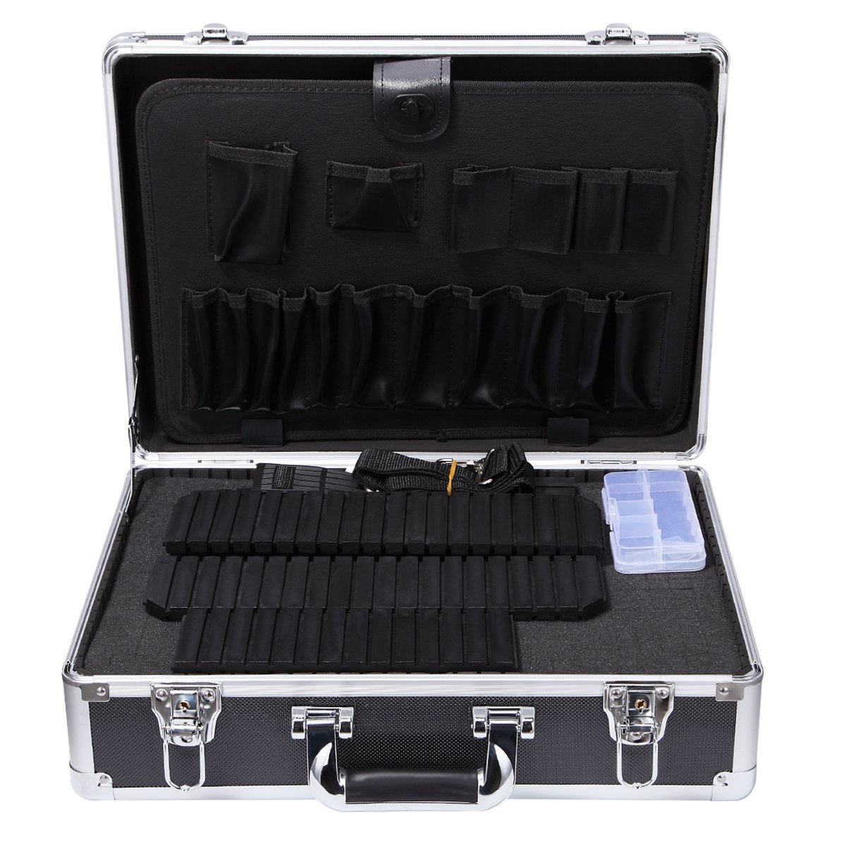 ALUBOX Aluminum Tool Box with Pre-Scored Foam Insert Hard Briefcase Lockable Metal Tools Organizer
