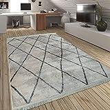 Paco Home Alfombra De Salón Rombos Flecos Motivo Escandinavo A Cuadros En Crema Y Gris, tamaño:120x170 cm
