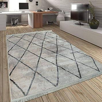 Hochflor Teppich Modern Karo Wohnzimmer Muster Geometrisch Design Creme Blau