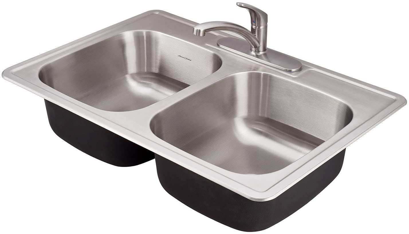 American Standard 22db 6332283c 075 Colony Ada 33x22 Double Bowl Kitchen Sink Kit With Faucet And Drain Stainless Steel Amazon Com