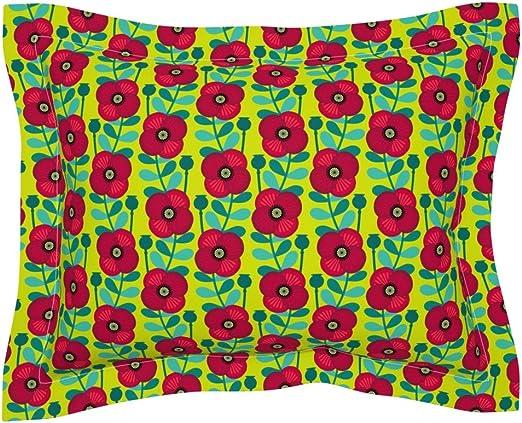 Amazon Com Roostery Pillow Sham Poppy Seed Leaf Stem Meadow