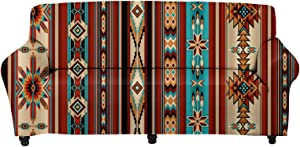 Forchrinse 1 Piece Southwestern Tribal Geometric Ethnic Stretch Sofa Slipcover Soft Couch Cover Furniture Protector Sofa Cover for Loveseat Couch Sofa
