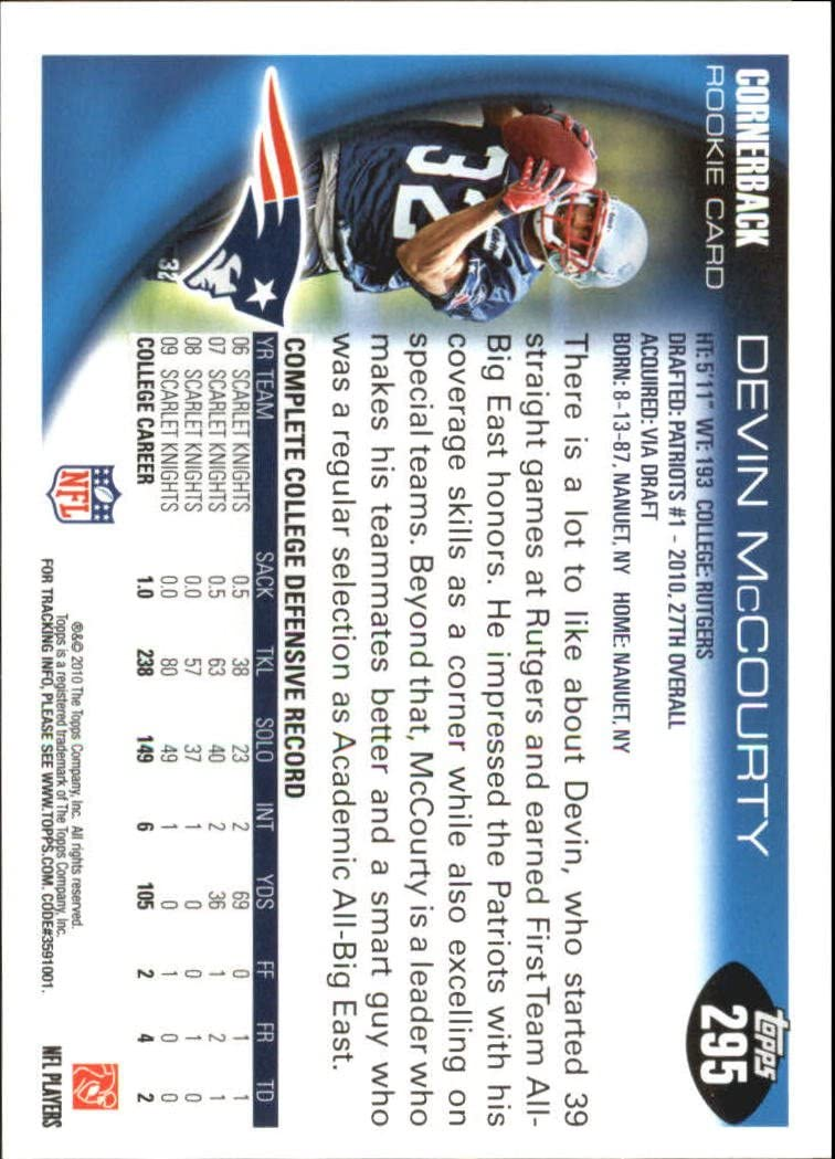 2010 Topps Football Rookie Card #295 Devin McCourty