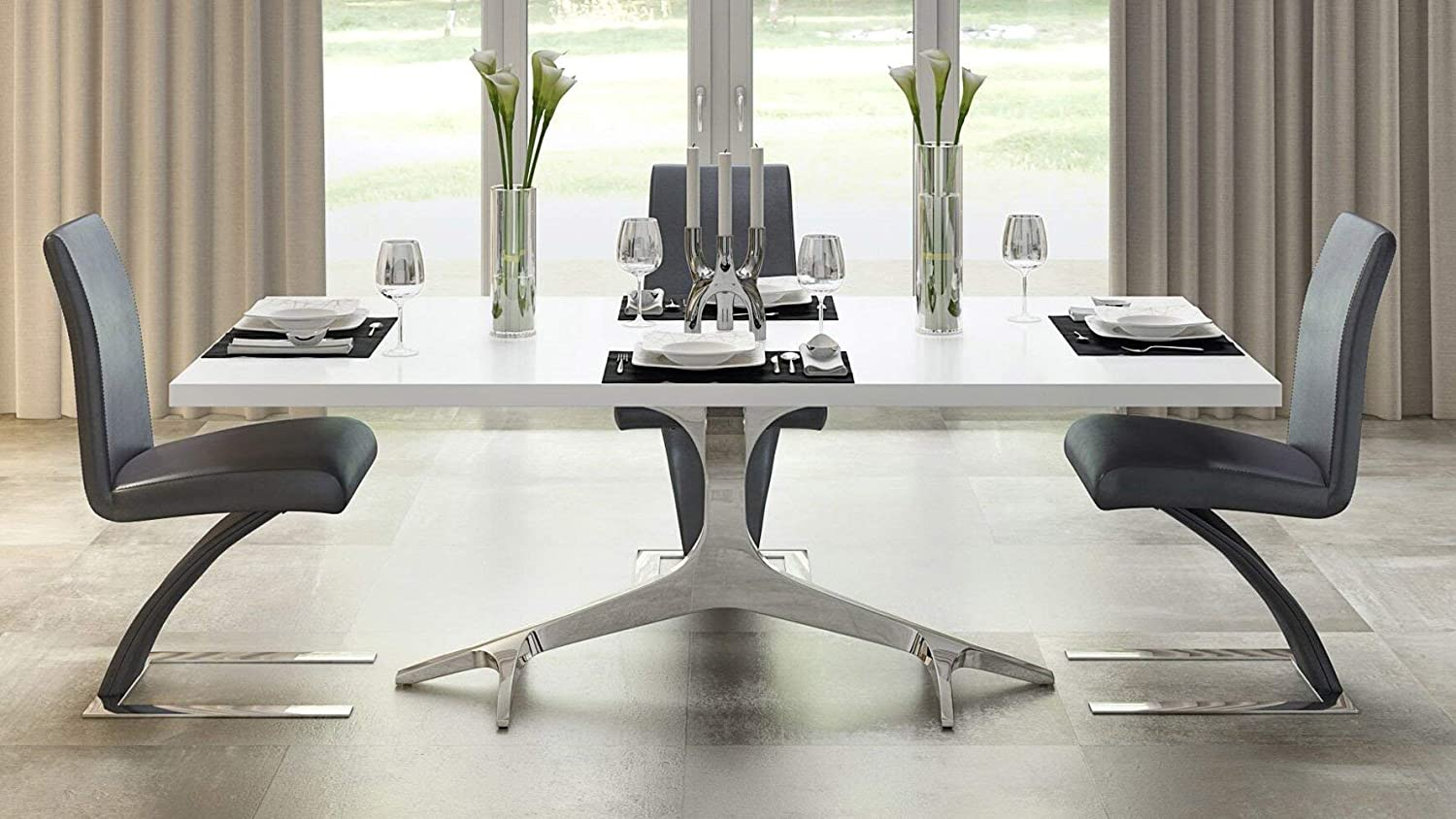 Zuri Furniture Modern Arbre Dining Table in White High Gloss Lacquer with Polished Stainless Steel Base