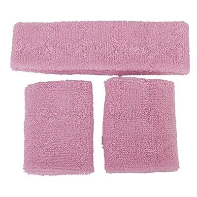 TOOGOO(R) 1x Bandeau et 2x Bracelets Elastiques pour les Sports - Rose