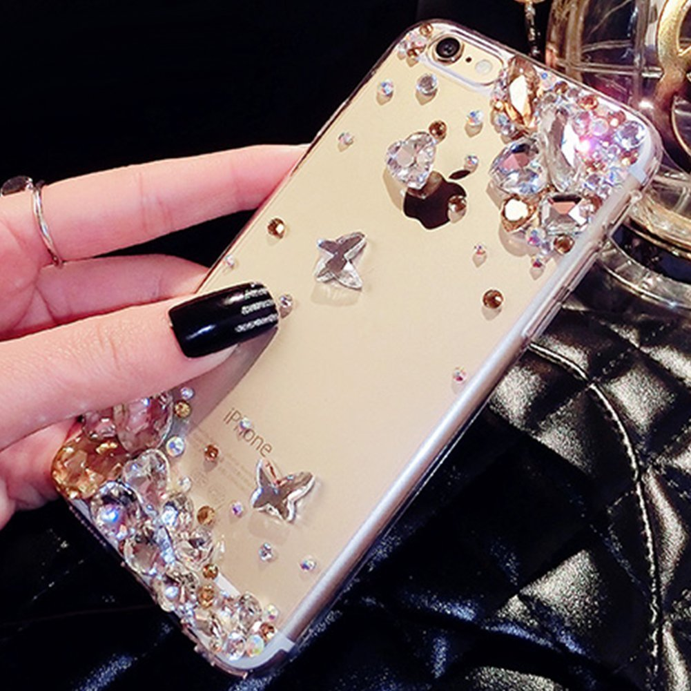 Felfy Hard PC Case for Apple iPhone 6 iPhone 6S Glittery, iPhone 6S Case for Girls, Luxury Silicone Glitter Diamond Rubber Cover Case with [Anti-Scratch]+[Abrasion Resistance]+[Drop Protection] Crystal Rhinestone Bling Sparky Shiny Bumper Skin Protective C