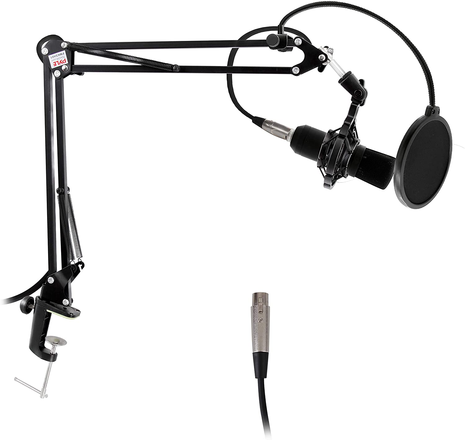 Suspension Microphone Boom Stand, Simple Clamp-Style Installation, Desktop Scissor Spring Arm Mic Stand w/ Shock Mount, Quick Setup & attached, Maximum Mic Arm Extension Dst= 2.26' ft.- Pyle (PMKSH01)