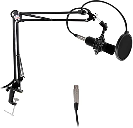 Pyle Adjustable Microphone Boom Scissor Arm Stand Dual Suspension and Mic Mount Holder w//Shock Mount Clip Perfect for Radio Broadcasting Studio Voice Over Sound Stage and TV Station PMKSH04