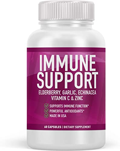 Immune Support Supplement with Elderberry Garlic Echinacea Vitamin C and Zinc Extra Strength Powerful Antioxidants by Double Dragon Organics