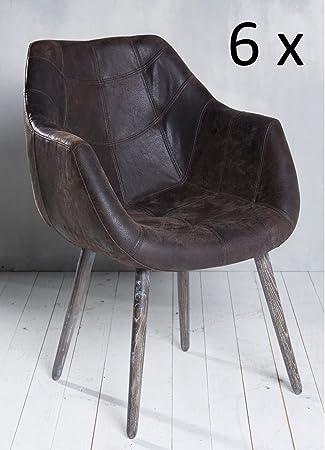 6x Armlehnenstuhl Stuhl Leder Braun Mit Holzbeinen Esszimmerstuhl