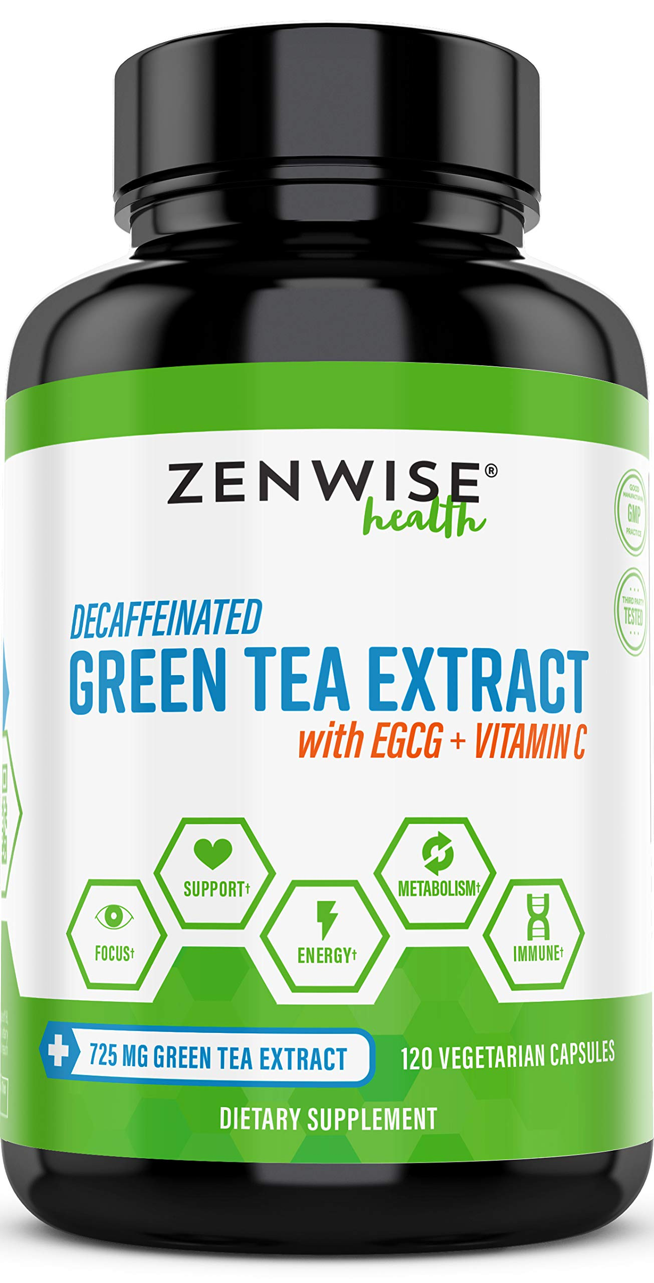 Green Tea Extract Supplement with EGCG & Vitamin C - Antioxidants & Polyphenols for Immune System - For Weight Support & Energy - Decaffeinated Pills for Brain & Heart Health - 120 Count