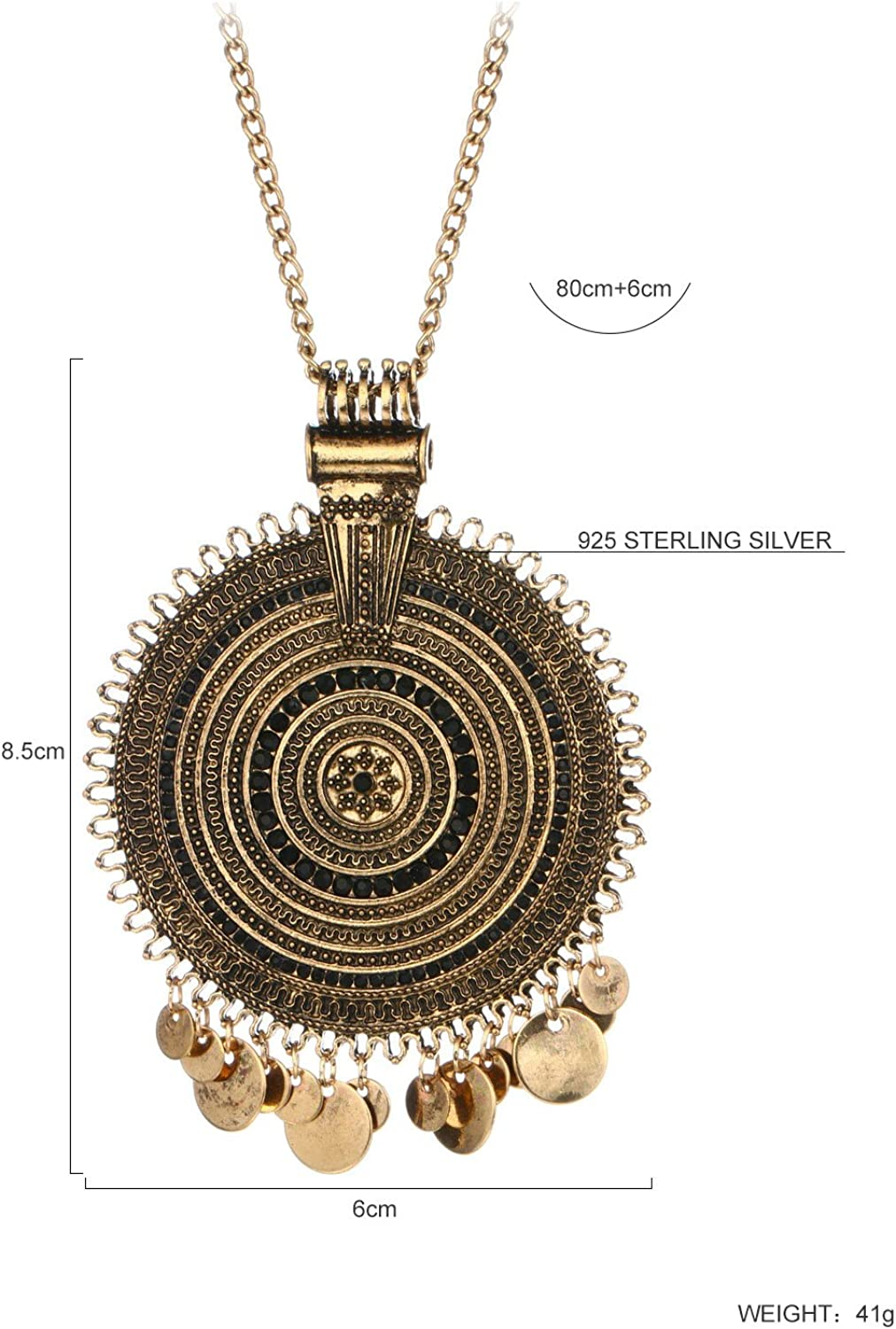 Bohemian Vintage style Genuine Leather Necklace with Double Ring Pendants