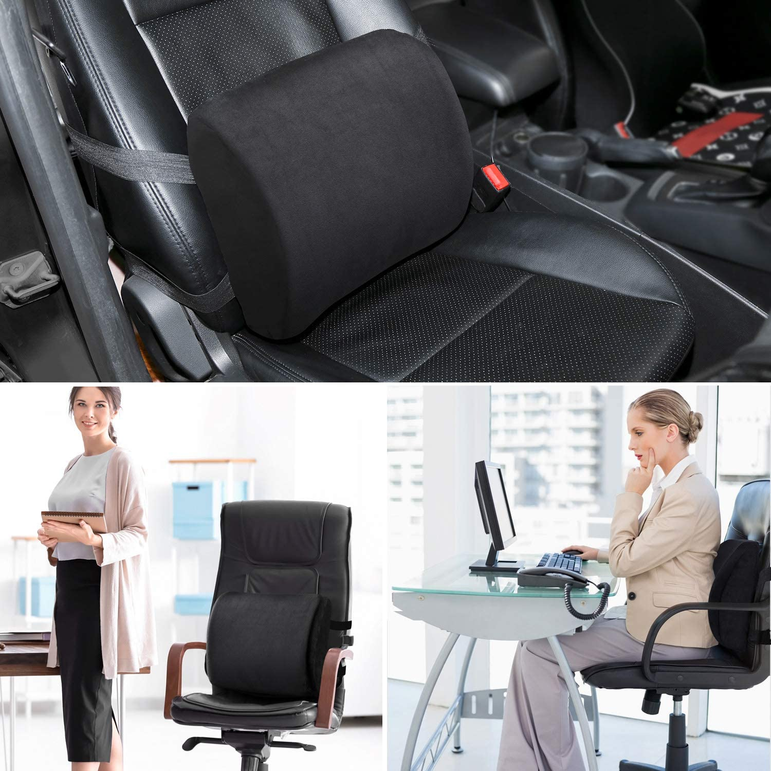 ENKEEO Memory Foam Lumbar Support Cushion with Contoured Ergonomic Design for Back Pain and Posture Correct Use on Office Car and Home
