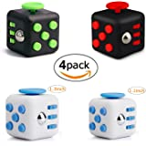 Fidget Cube Toys Set of 4,Mini Cube Relieves Stress and Anxiety Attention Toy for Work/Class/Home