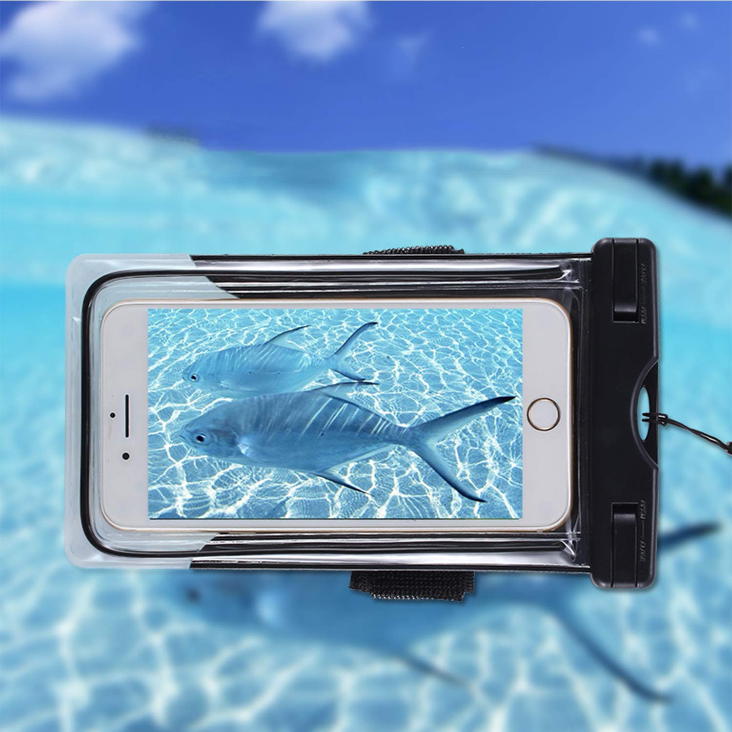 """Universal Waterproof Case for Smartphone Device to 6"""" Fit iPhone X/8/8plus 7plus/6plus Samsung Galaxy s8/s8plus/s7 Google Pixel HTC10,for Water Parks/Beach/Cruise/Pools"""