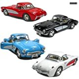 "Set of 4: 5"" 1957 Chevy Corvette 1:34 Scale (Black/Blue/Red/White) by Kinsmart"