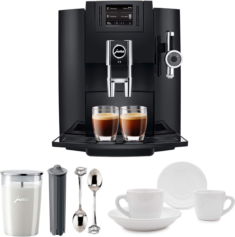 Descaler Bean Container Chrome Includes Milk Container Filter and 2 Cups Jura 15097 E8 Smart Espresso Coffee Machine 7 Items