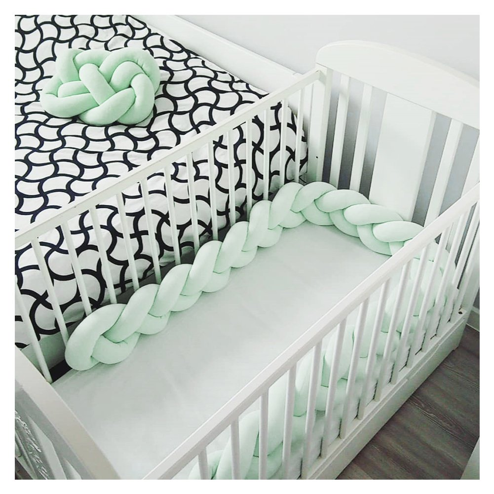 LOAOL Baby Crib Bumper Knotted Braided Plush Nursery Cradle Decor Newborn Gift Pillow Cushion Junior Bed Sleep Bumper (4 Meters, Mint)