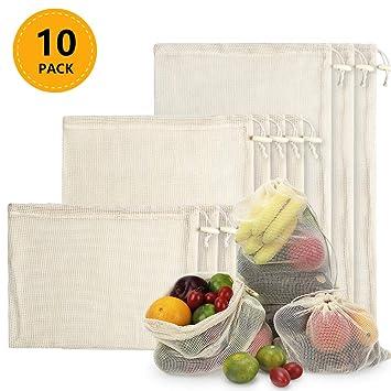 TYRY.HU Bolsas de Malla Reutilizables, Bolsas de Comestibles 10 Piezas Bolsas de Algodón Orgánico para Frutas y Vegetales para Almacenar Comida, IR de ...