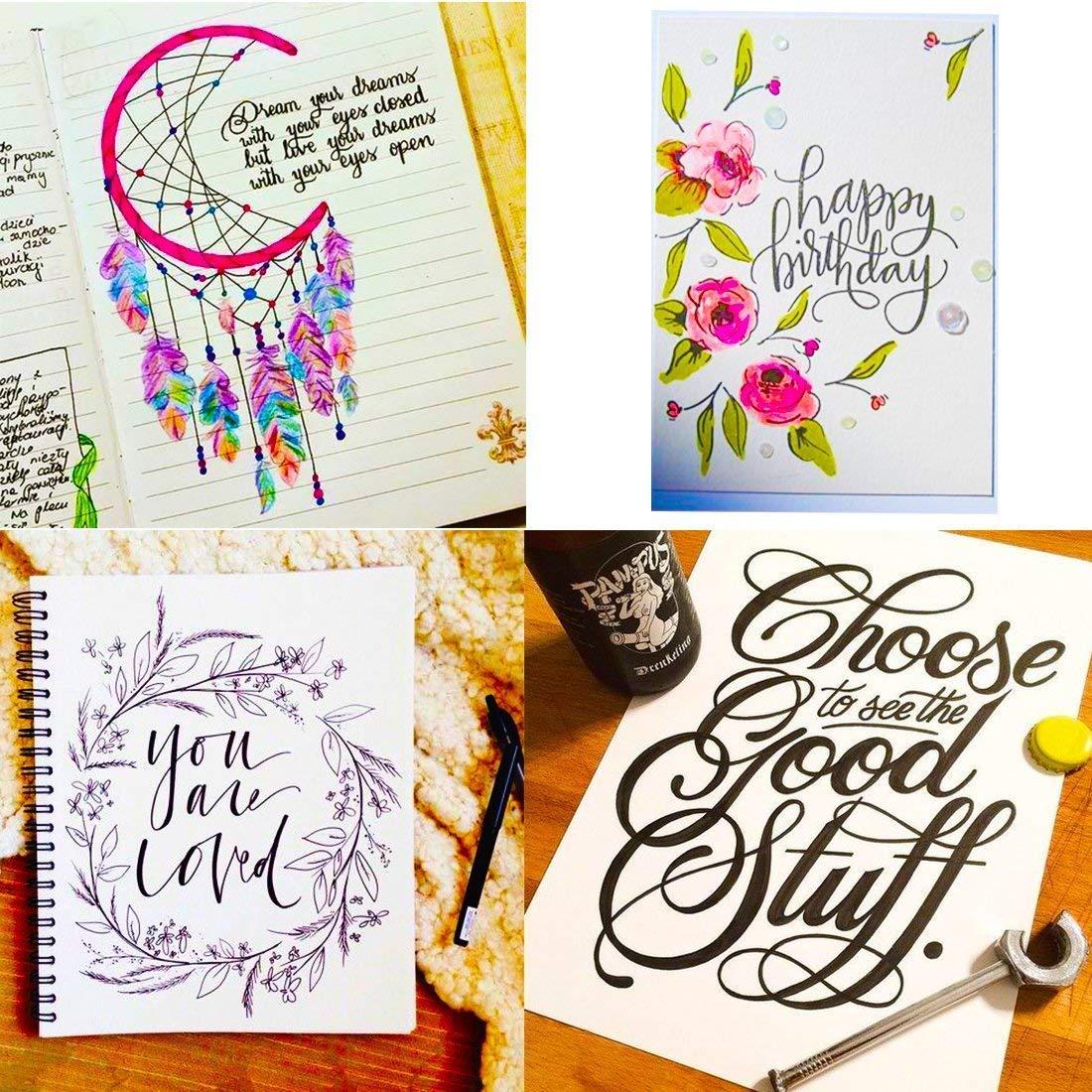 Refillable Hand Lettering Pen Brush Pens Markers for Calligraphy Beginners Signature Writing Art Drawing Illustration 4 Sizes Black Ink Pens Art Marker Set Design