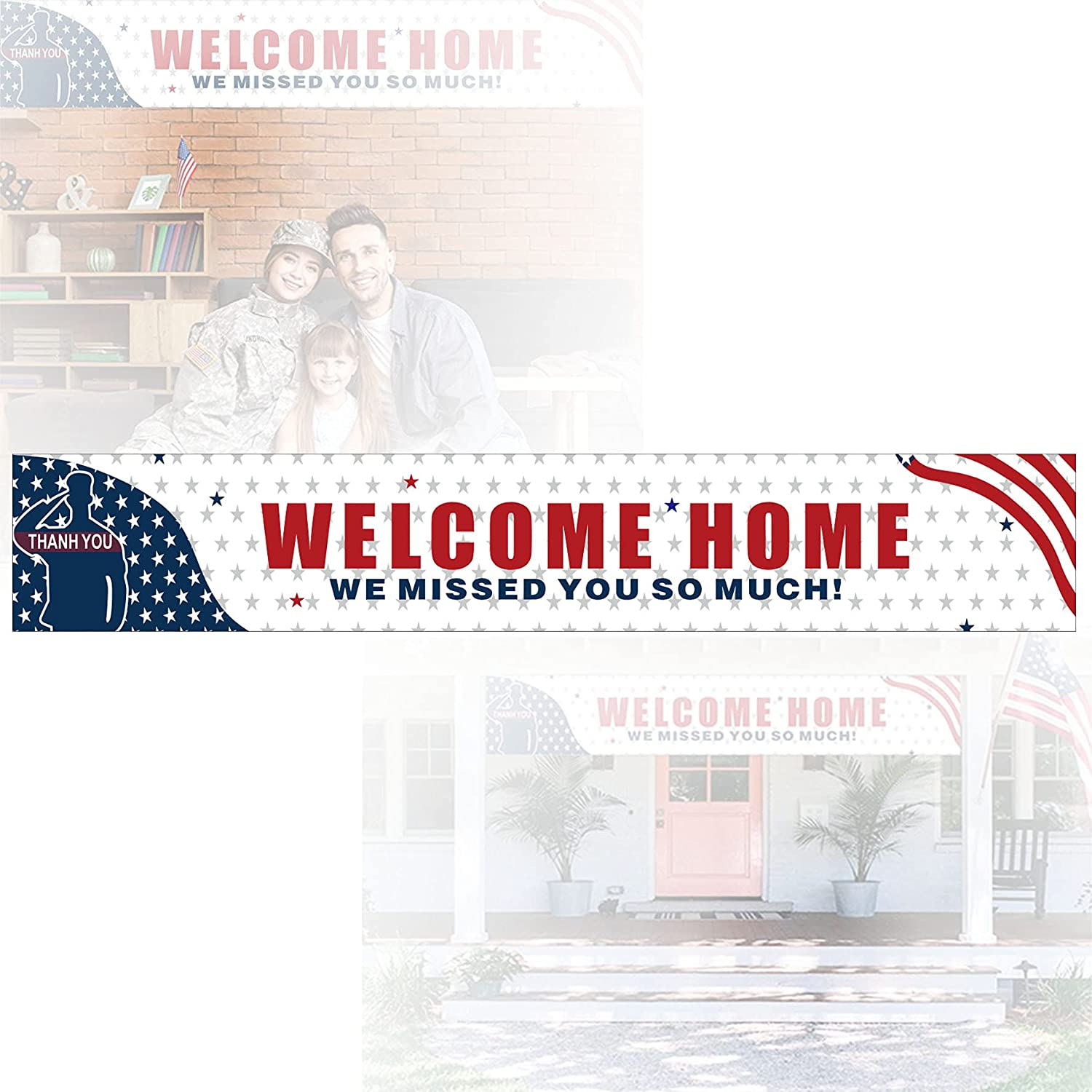 Welcome Home Large Banner, We Missed You So Much for Party Slogan, Military Army Homecoming Party Decorations Indoor Outdoor Backdrop 9.8 x 1.6 Feet