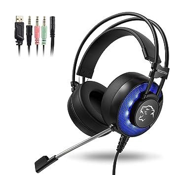 Auriculares Gaming con microfono, Cascos Gaming, Auriculares para Juegos para PS4 / PC/Xbox One/Switch/Tableta/Celular, Headset estereofónico con fantástico ...
