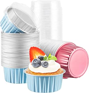 Foil Ramekins with Lids, Beasea 5 oz 100 Pack 3 Inch Aluminum Ramekins Disposable, Blue Muffin Liners Aluminum Cups Carmine Red Mini Creme Brulee Cupcake Baking Pudding Cups for Party Wedding Birthday