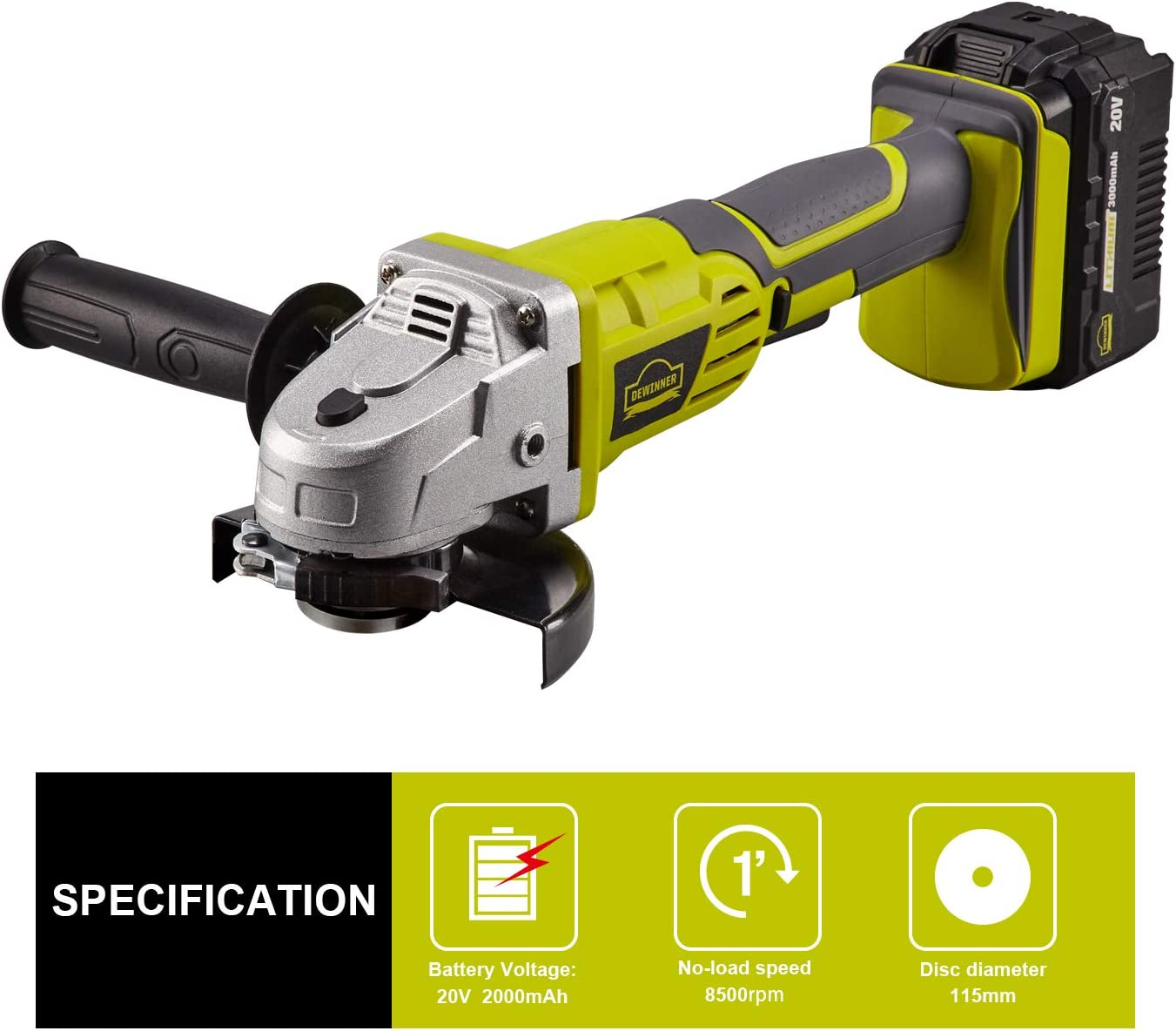 1 Grinding Wheels 8500 RPM w// 3.0Ah Lithium-Ion Battery /& Fast Charger 4 /½ 1Cutting Wheels Electric Brake 2-Position Adjustable Auxiliary Handle DEWINNER 20V Cordless Angle Grinder