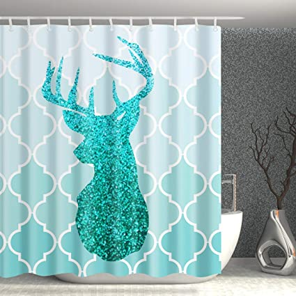 Homify Turquoise Shower CurtainGreen Ombre European Medieval Gradient Patterns Bathroom Curtain With Dear