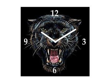 Reloj de Pared Grande - Cuadro de Cristal y Reloj de Pared - Variedad de diseños; AG02 Serie Animales: Pantera Negra: Amazon.es: Hogar