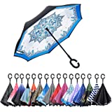 AWEOODS Inverted Umbrella Windproof Reverse Folding Double Layer Travel Umbrella with C Shape Handle, Porcelain