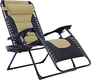 Oversized XL Padded Zero Gravity Chair, Patio Adjustable Recliner with Cup Holder for Indoor Outdoor Beach Backyard, Support 350 LBS (Beige)
