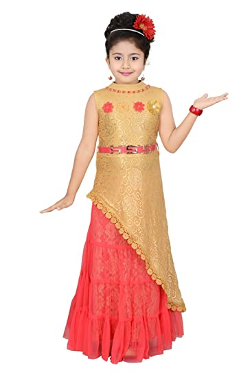 ce0a43713ac Riti Creations girls partywear long top and skirt set  Amazon.in  Clothing    Accessories