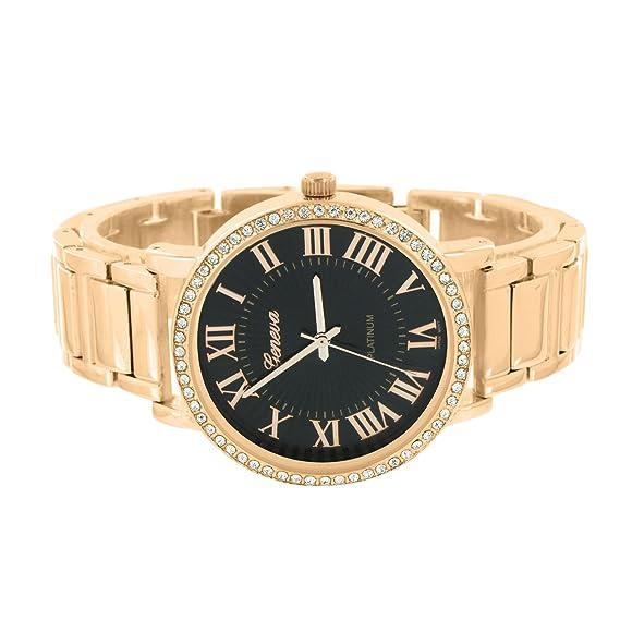 Negro Dial relojes oro rosa acabado imitación de diamantes Joe Rodeo Jojo JoJino: Amazon.es: Relojes