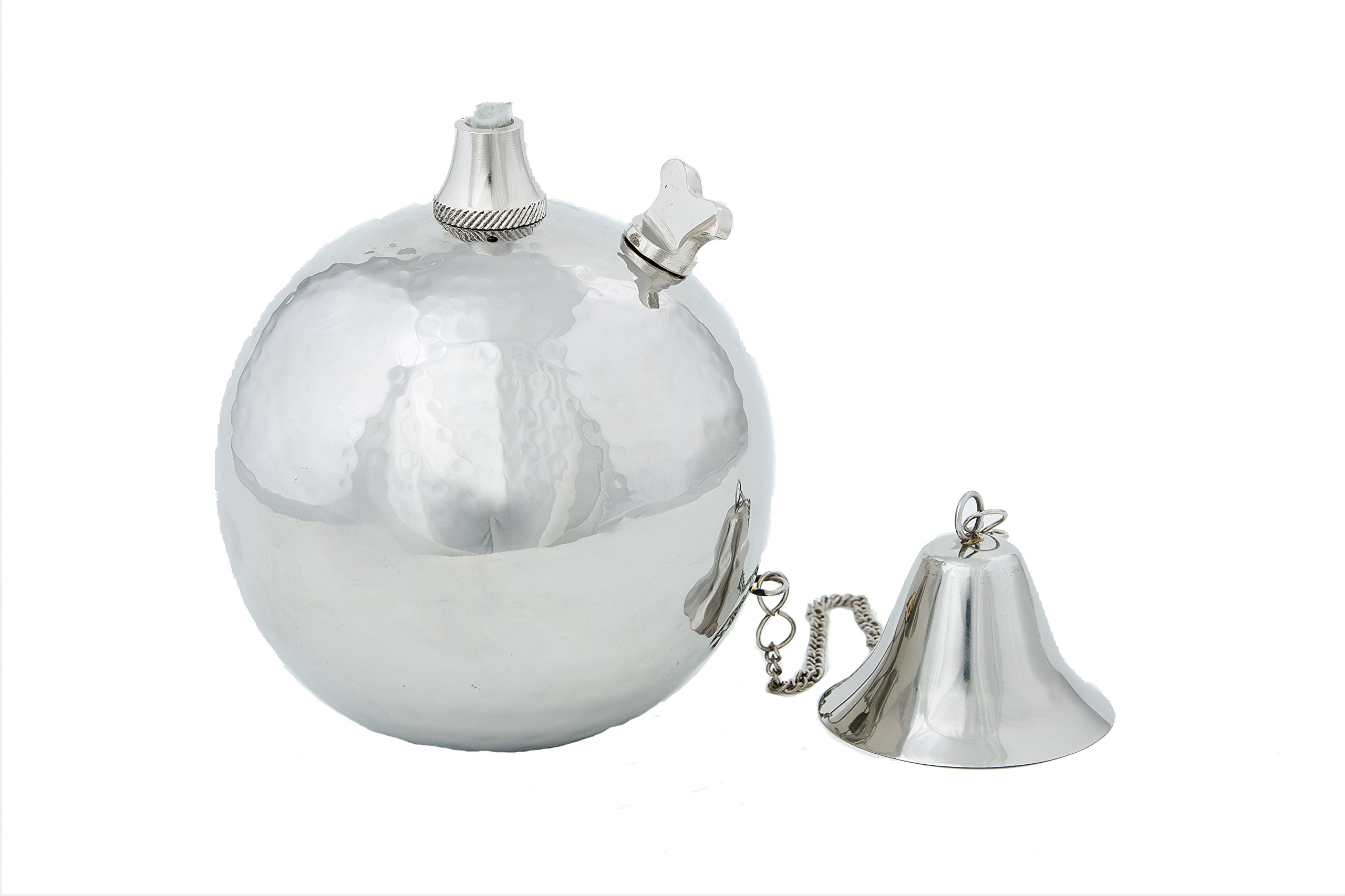 Hammered Stainless Steel Globe Oil Lamp, Tabletop Torch, Set of 2 (Small)