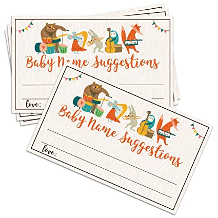 Amazon com: 50 Baby Name Suggestions Cards, Printable Green