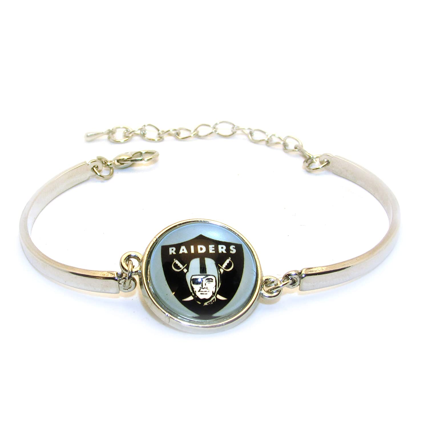Swamp Fox Oakland Raiders Metal Charm Bangle Bracelet with Adjustable Chain 7 to 8