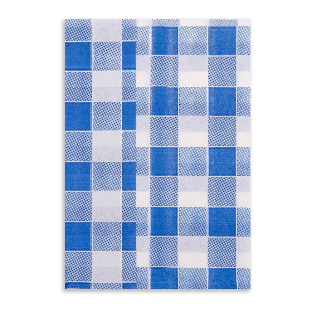 Luxenap 1 Ply Recycled Picnic Print Blue 7x13.5 Inches 7000 count box by Restaurantware (Image #1)