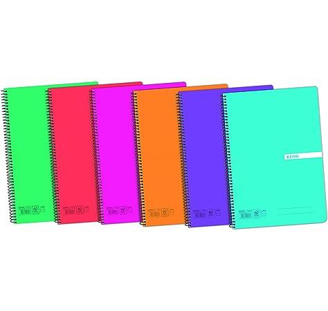 Enri 400042280 - Cuadernos con espiral simple, tapa de plástico ...