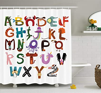Lunarable ABC Shower Curtain Funny Cartoon Children Alphabet With Elephant Fox Monkey Snake Animals Typography