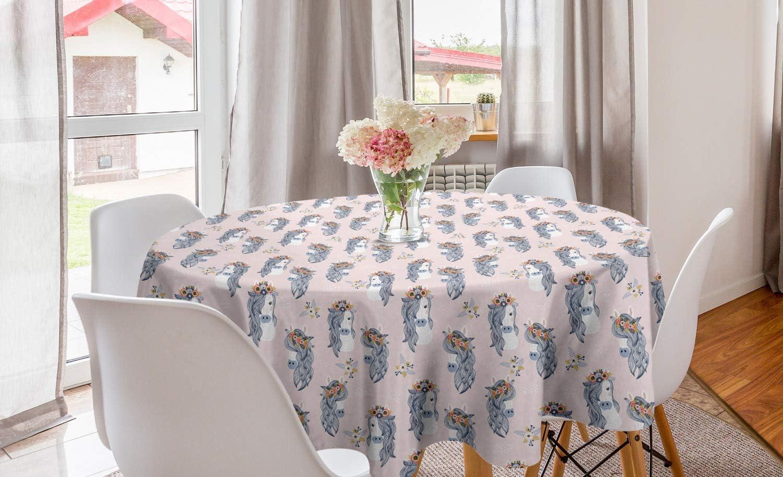ABAKUHAUS Pastel Mantel Redondo, Los Caballos y Flores en la Pista, 100% Poliéster Satinado Apto Lavadora Estampado, 150 cm, Rosa y Azul de la Pizarra