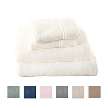 Great Bay Home Extra Soft Cozy Velvet Plush Sheet Set. Deluxe Bed Sheets with Deep Pockets. Velvet Luxe Collection (King, White)