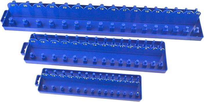 38 Tray Rack Metric Storage 14 Toolzone 3 Piece Abs Plastic Socket Holder Set