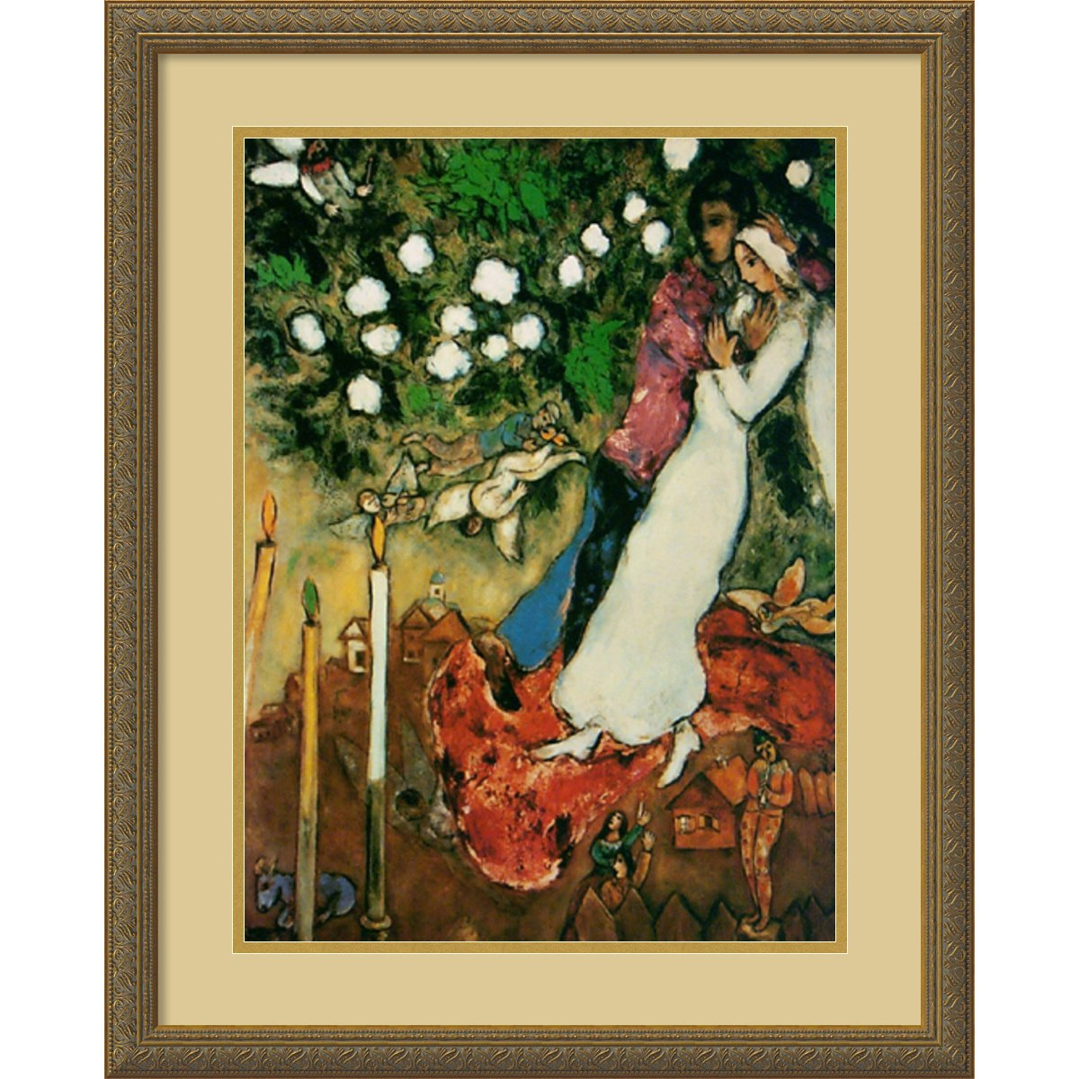 Framed Art Print, 'The Three Candles' by Marc Chagall: Outer Size 22 x 28'' by Amanti Art