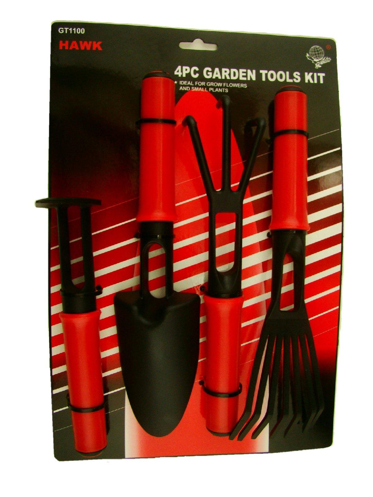 Make Your Own Gold Bars 4pc Small Garden Tool Set - All Plastic - Rake-Claw-Shovel & Hoe Kids Zen Box