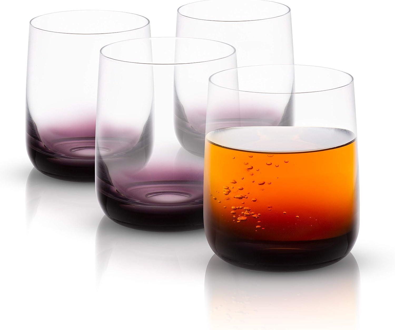 JoyJolt Black Swan Double Old Fashion Glasses, Premium Lead Free Crystal Glassware, 13.7 Oz Capacity, Set Of 4